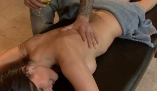 Horny masseur seduces Eva Carrera and fucks her face and pussy