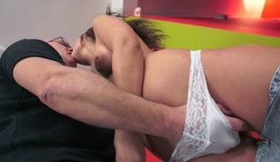 Bald headed old dude fucks nasty whore Anina Silk