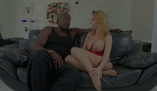 Breasty slut Brittney Amber gives an interview to big black stud