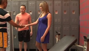 Lusty slut acquires pounded really hard in the locker room
