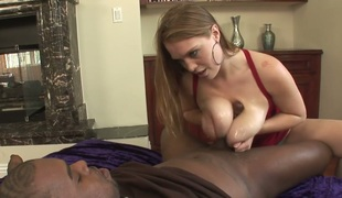 Bosomy redhead slut Sierra Skye receives team-fucked properly