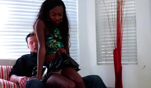 Lusty ebony doxy gets her tight twat hammered with a white cock