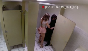 Gorgeous damsel Miss Melrose fucked hard in public water closet
