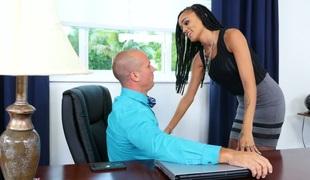 Sassy black secretary Julie Kay gets drilled hard by her boss