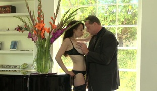 Hot brunette hair mommy with fake mangos McKenzie Lee hammered well
