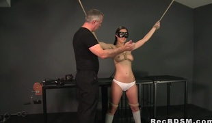 Bound up slave acquires cunt vibrated and gagged