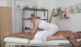 Tanned muscled guy fucking masseuse massaging jizz