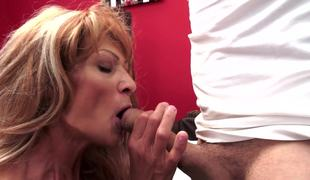 A granny that likes large thick ramrod feels one in her wet and juicy snatch