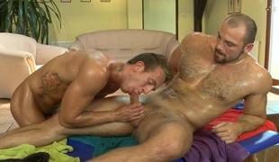 Massaging his tight stomach and biggest schlong