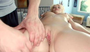 Blonde-haired angel gets massage, fucking, and cumshot
