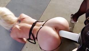 blonde lesbisk strømper ass dildo