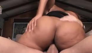 Pretty ebony cheerleader Candice Jackson having sex with a white guy