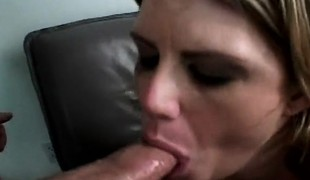 Nasty blond milf with big natural breasts takes on two stiff pricks
