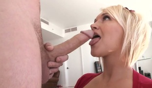 Blonde cutie Julie Castle with phat ass is too hot to stop sucking her mans stiff wang