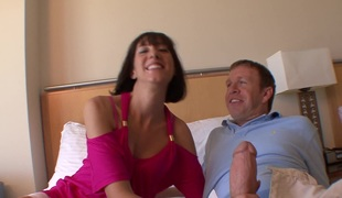 Brunette MILF with pierced clit gets banged and takes facial