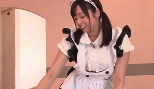 He jerks off to the Japanese maid and cums on her face
