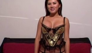 Lingerie is perfect on the Asian babe fucking a big schlong guy