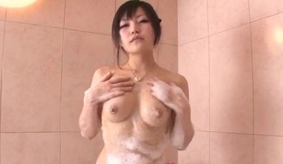 Hikaru Kirameki, soapy porn solo in the bathroom