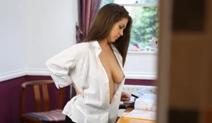 Large titties teased in her sexy white blouse