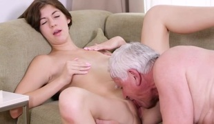 Lascivious old guy explores juvenile soaked body of a pretty girl