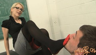 Sexy blonde teacher punishes her student by making him eat her pussy