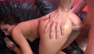 Slender brunette Karlie Stone takes a lengthy pole for an gripping ride