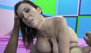 Large breasted cougar in heat Sara Jay fulfills her interracial desires