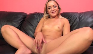 Miniature blonde nympho with tiny tits Cleo Vixen has a passion for cock