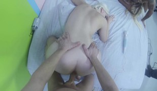 Breasty blonde vibrates while getting drilled and gives head in POV