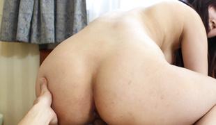 Shizuku Morino brunette babe plays naughty on a large cock
