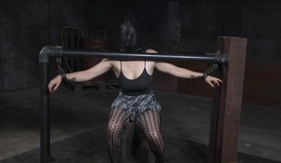 Tiedup submissive flogged after breastbondage
