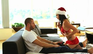 Christmas hottie sucking a candy cane and his big pecker