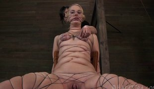 Seductively nice ass servitude cowgirl drilled with toy in S&m