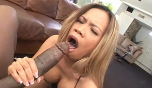 Fake tits dame with hot ass throbbed doggy style in interracial porn