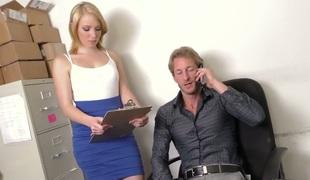 Hot blonde secretary Trillium banged well by her buddy