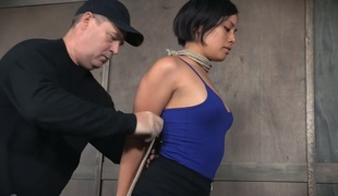 Bounded Asian gal Milcah Halili rides a sybian and gets her muff toyed