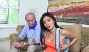 Tanned beauty Michelle Martinez banged by a horny old fart