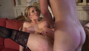 A busty milf that has amazing knockers is getting penetrated hard