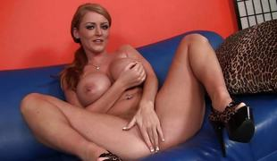 Round titted Sophie Dee acquires a long hard shaft