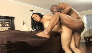 Lovely Donna Red wildly fucks a big dark stick in each position