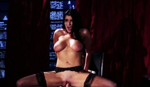 Romi Rain with gigantic melons is out of control with throbbing worm in her muff