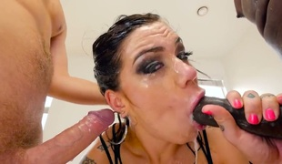 Karmen Karma with big jugs cant await to be fucked in her mouth by hard dicked Jonni Darkko