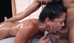 Brunette Diamond Kitty with gigantic breasts does dirty things and then gets her pretty face covered in jizz