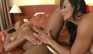 Katia de Lys takes Sandra Romains tongue deep in her love tunnel after foreplay