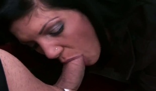 Well-endowed tramp gets her mouth fucked to death by hot man