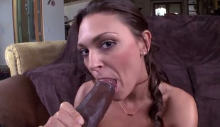 Huge ass slut takes darksome cock