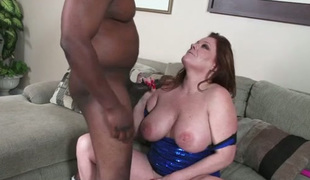 Plump Caucasian granny screwed hard in a doggy style