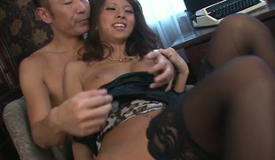 Ema Kisaki's ass hole polished and fingered in MMF foreplay