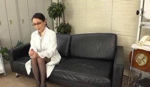 Japanese nurse seduces the lesbian doctor and eats her pussy