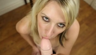 Big tits British chick gives a POV sex-toy blowjob